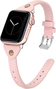 Secbolt Slim Leather Bands Compatible with Apple Watch Band 38mm 40mm, Soft Genuine Leather Strap for iwatch SE Series 6/5/4/3/2/1 Women, Pink