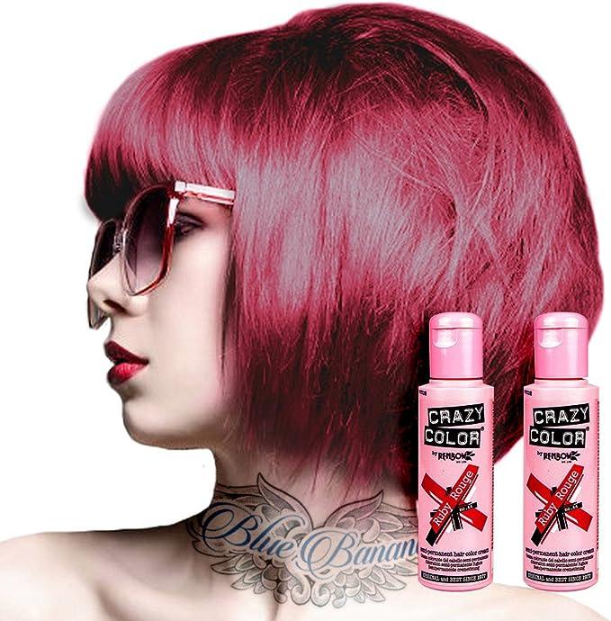 Tinte capilar semi-permanente de Crazy Color 100ml (Ruby Rouge - rojo rubí)
