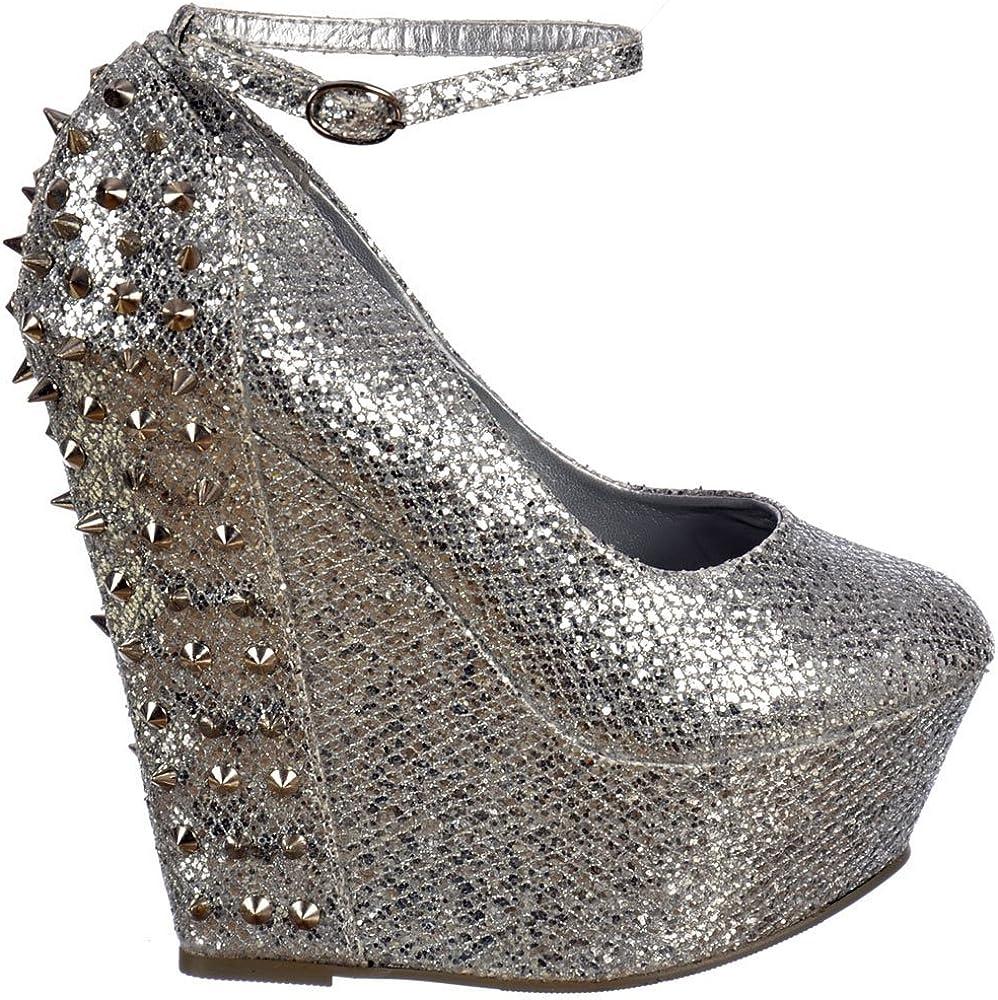 Wedge heels women Clearance glitter shoes Women\u2019s glitter shoes green Glitter heels Sale UK6 green glitter wedges Custom shoes