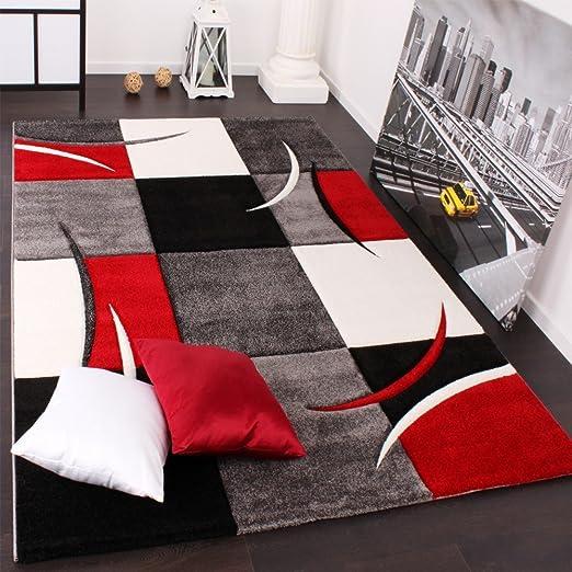291 opinioni per Tappeto Di Design Orlo Modello A Quadri Nei Colori Bianco Rosso Grigio Nero,