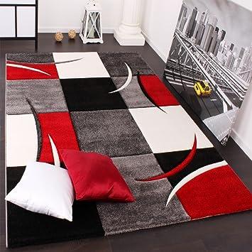 b9e5c19f1cf2fb Paco Home Designer Teppich mit Konturenschnitt Karo Muster Rot Schwarz