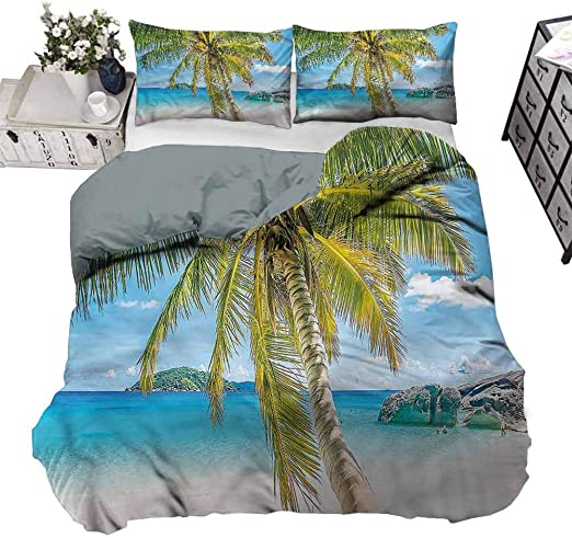 Amazon Com Duvet Cover Palm Tree Sunny Day Beach Swimming Summer Bedding Never Fades After Multiple Washes King 104 X 90 Inch Home Kitchen