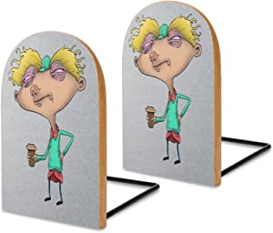 Hey Arnold Before Coffee Bookshelves, Decorative Bookshelves Wooden Office bookends, Bookshelves for Thick Books, Family bookends 5 x 3 in (Pair/Two)