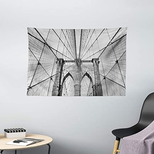 Ambesonne Landscape Tapestry, USA New York Brooklyn Bridge Cityscape Scenery Photo Print, Wide Wall Hanging for Bedroom Living Room Dorm, 60 X 40 , Charcoal Grey
