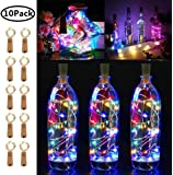 LiyuanQ 10 Pack 20 LED Wine Bottle Cork Lights Copper Wire String Lights, 2M/7.2FT Battery Operated Wine Bottle Fairy…