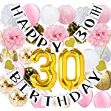 Pink Gold 30th Birthday Party Decorations for Women Gold Confetti Latex Balloons Gold Pink 30th Birthday Decoration Happy 30th Birthday Party 30th Party Supplies