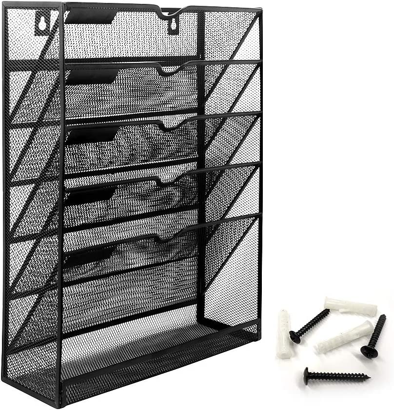 Bonsaii Wall File Organizer Mesh 5-Tier Hanging File Folder Holder/Vertical Mount Magazine Rack with Bottom Shelf, Black (W6001)