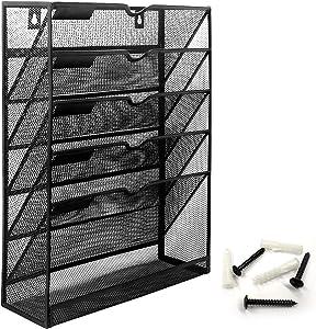 Bonsaii Wall File Organizer Mesh 5-Tier Hanging File Folder Holder/Vertical Mount Magazine Rack with Bottom Shelf, Black (W6001)