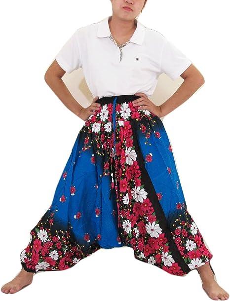 Thai Zone - Pantalones de rayón de algodón auténtico, Estilo Tribu de Flores y Flores, Hippie, Boho, Genio, Ali Baba Aladdin, Harem: Amazon.es: Hogar