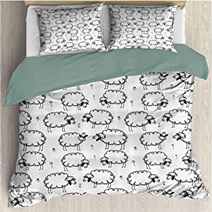 Waynekeysl Home Duvet Cover Bedding Set, Funny Sheep Patterns on Meadow with Flower Comic Doodle Playroom Kids Decor Art, Decorative 3 Piece Bedding Set with 2 Pillow Shams, King Size, Balck White