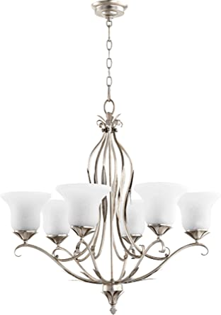 Quorum Lighting 6272 6 60 Flora Glass 1 Tier Lighting 6LT Aged