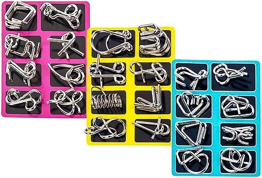 BOROK Rompecabezas Metal, 24Pack 3D Puzzles Adultos Juegos de Ingenio Juegos de Mesa Juego IQ Juguete Educativos Habilidad Juego Logica Calendario de Adviento Niños: Amazon.es: Juguetes y juegos