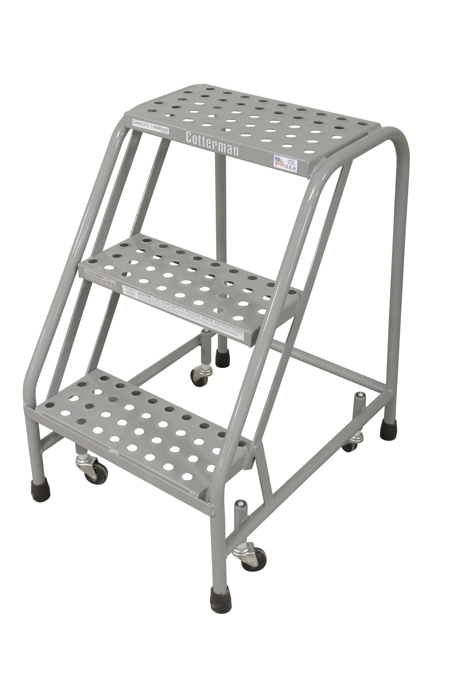 Cotterman 1003N1820A6E10B3C1P1 All Welded Ready to Use Rolling Steel Safety Ladder, 3-Step, 30'' Top Step Height, Performa Perforated Tread, 450 lb Capacity