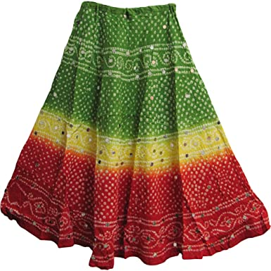 17841e739 Yoga Trendz Bohemian Gypsy Indian Cotton Jaipur Bandhej Sequined Tie-Dye  Long Skirt (No12