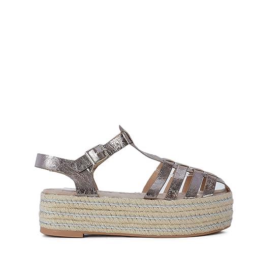 Sandalias Alpargata de Mujer con Plataforma de Yute Estilo Cangrejera SS19: Amazon.es: Zapatos y complementos