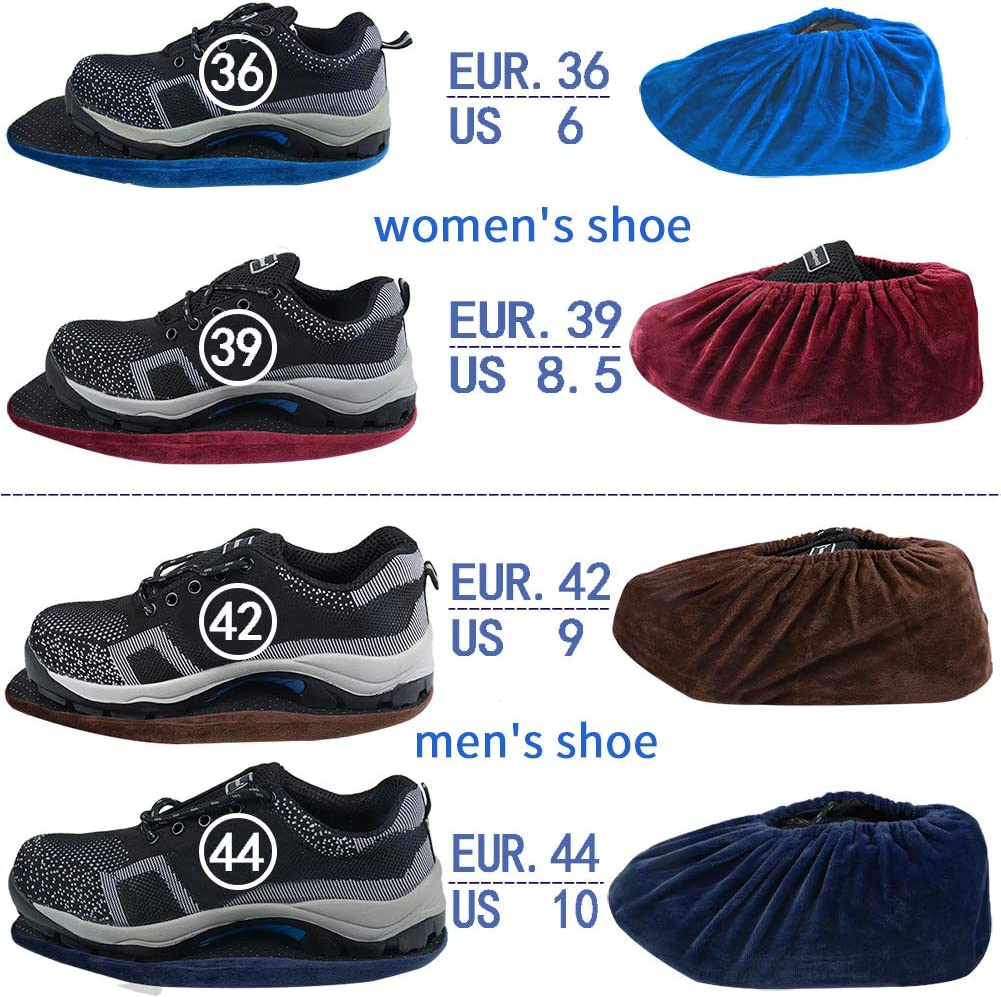 4 Pairs,Reusable and Washable Shoe Covers,Safety Shop Non-Slip Boot Cover for Household, Blue/&Wine Red/&Navy Blue/&Brown