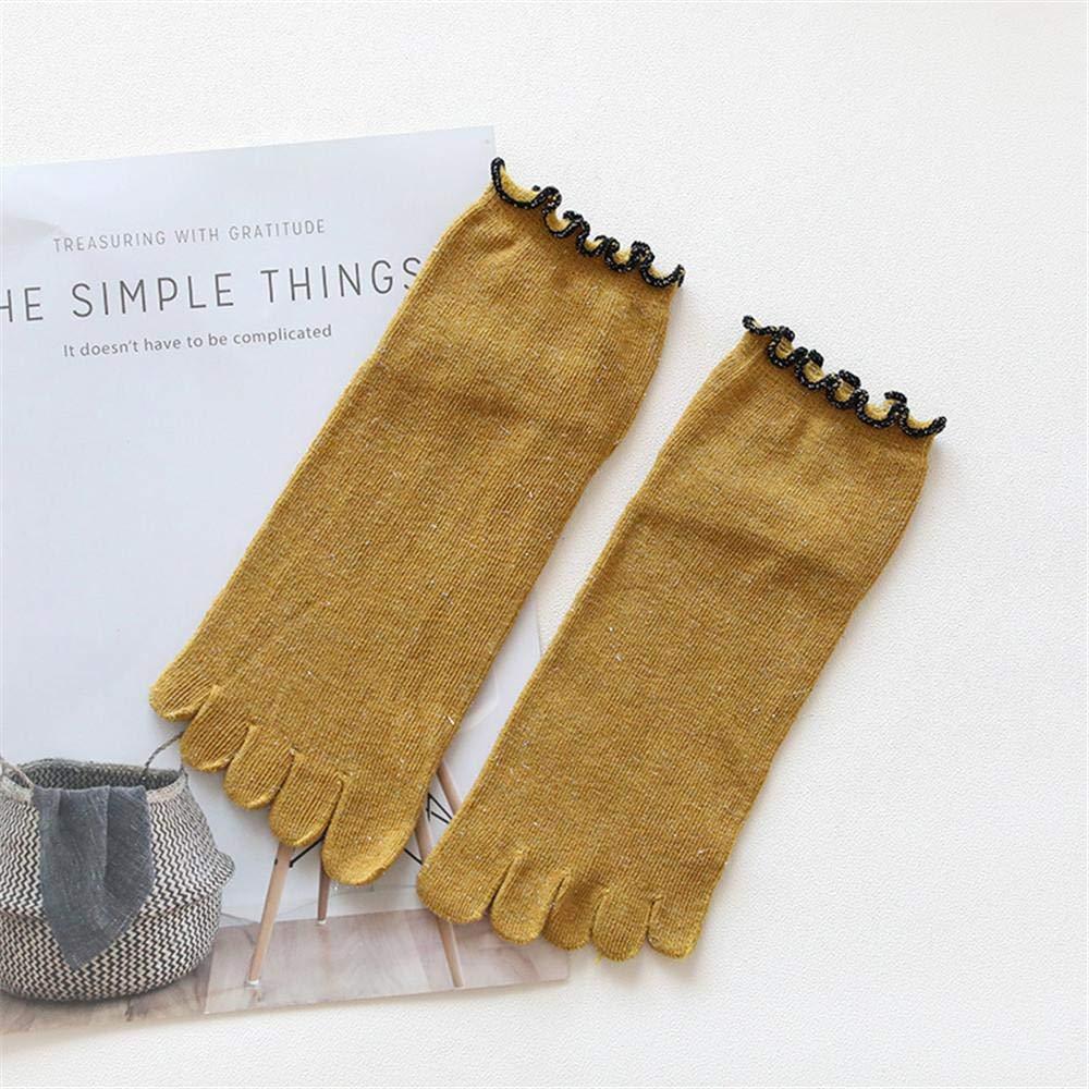 VJGOAL Moda casual para mujer Color sólido con encaje Punta Calcetines Calcetines de cinco dedos Algodón Transpirable Calcetines suaves(Un tamaño, ...