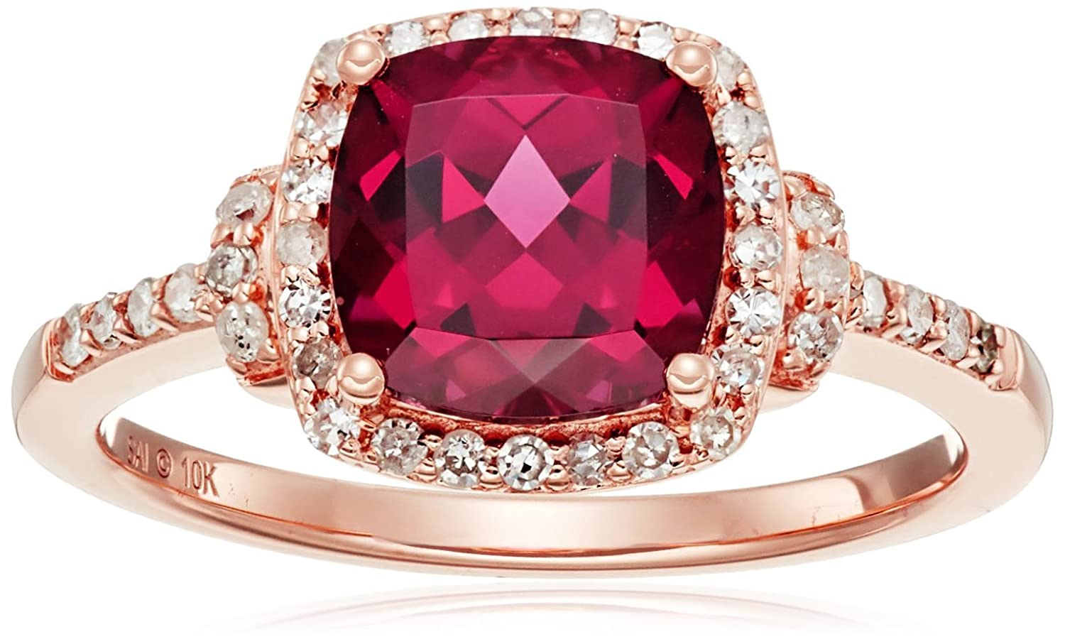 10k Pink Gold Rhodolite and Diamond Cushion Ring (1/4cttw, I-J Color, I3 Clarity), Size 7