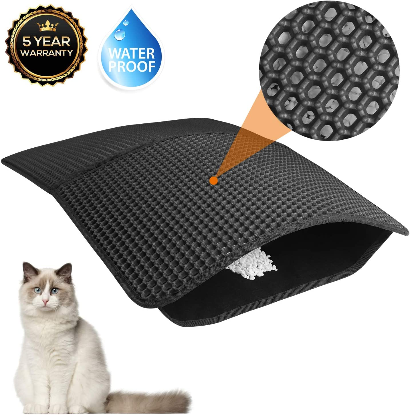 Akarden Cat Litter Mat, Waterproof Urine Proof Cat Litter Trapping Mats(25.5''X17.7''), Double-Layer Design, Easy to Clean, Scatter Control(Black) 7146oLePGFL