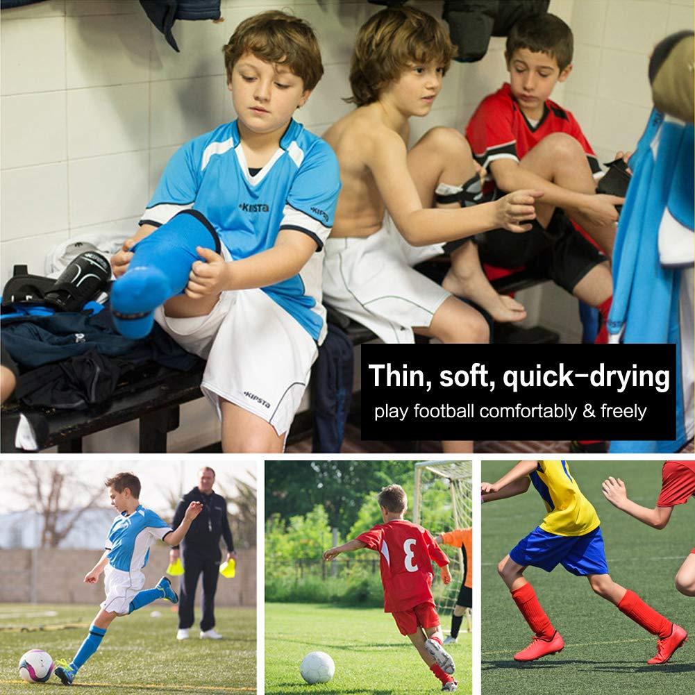 EQLEF Calzini da Calcio in Cotone Leggero ad Asciugatura Rapida per Bambini dai 6 ai 7 Anni