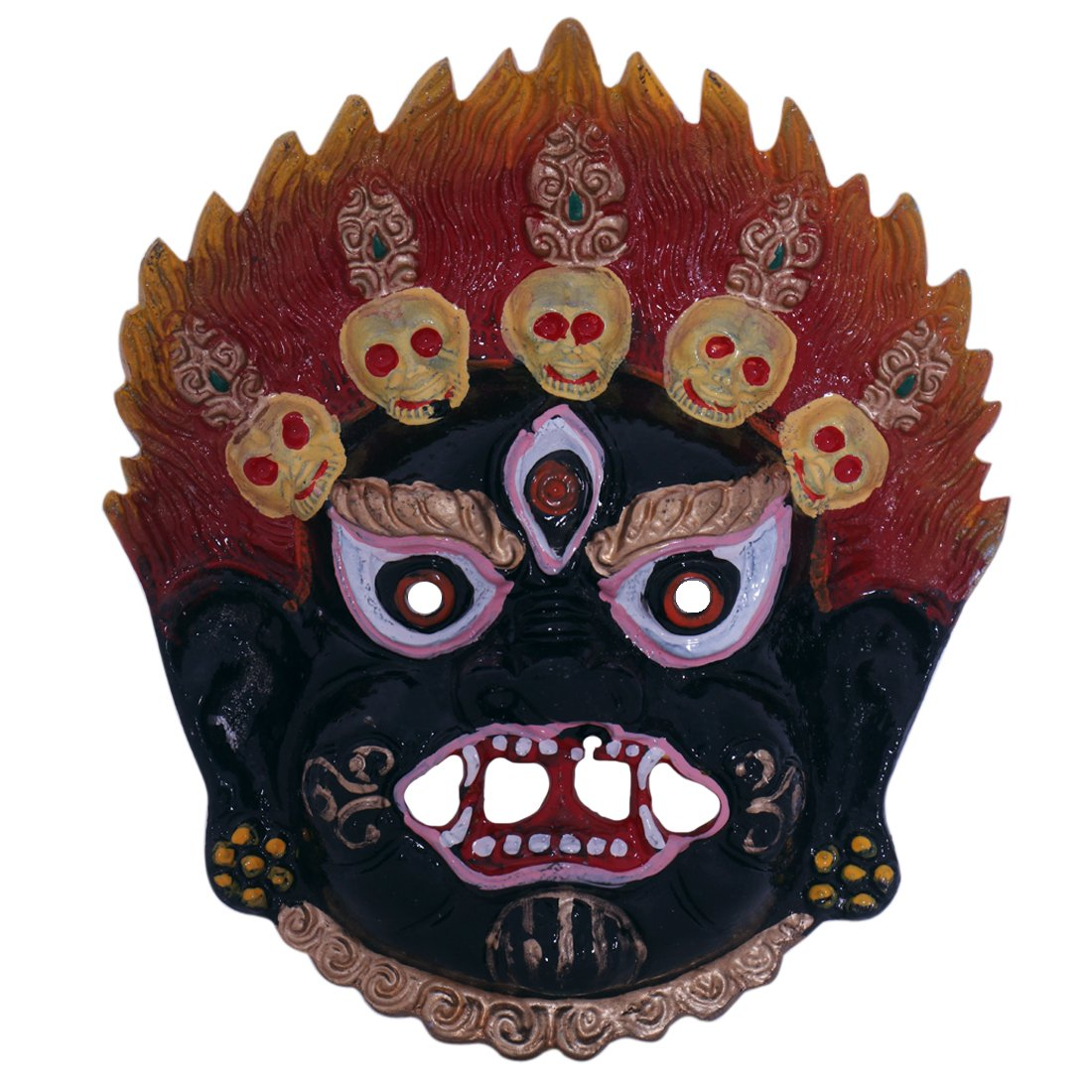 Ratnatraya Tibetan Mahakala Nazar Battu Suraksha Kawach Red Black Face Mask For Evil Protection