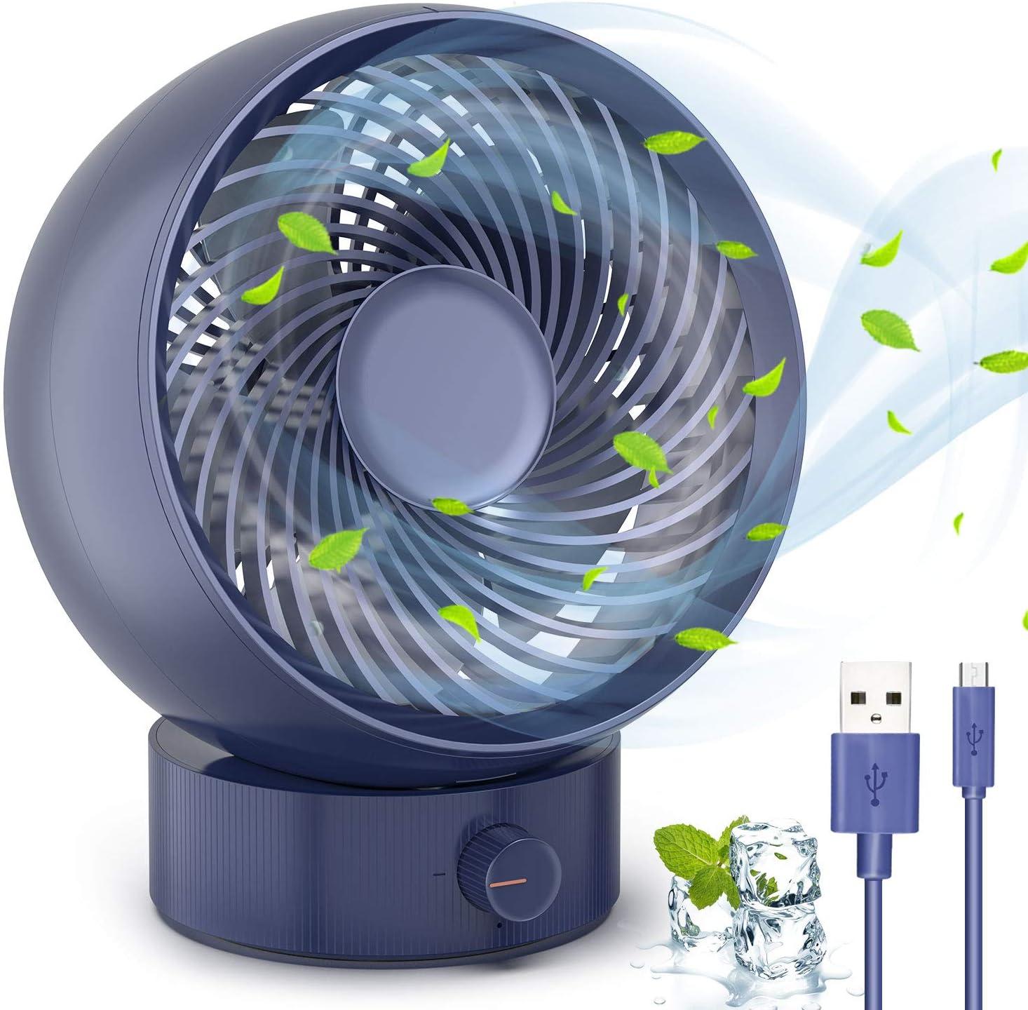 TedGem Ventilador, Ventilador USB Ventilador de Mesa Mini Ventilador USB Silencioso 180 Tipos Velocidad del Viento, Puede Ajustar hacia Arriba y hacia Abajo 20 °, para Oficina/Hogar/Viajar (Azul)