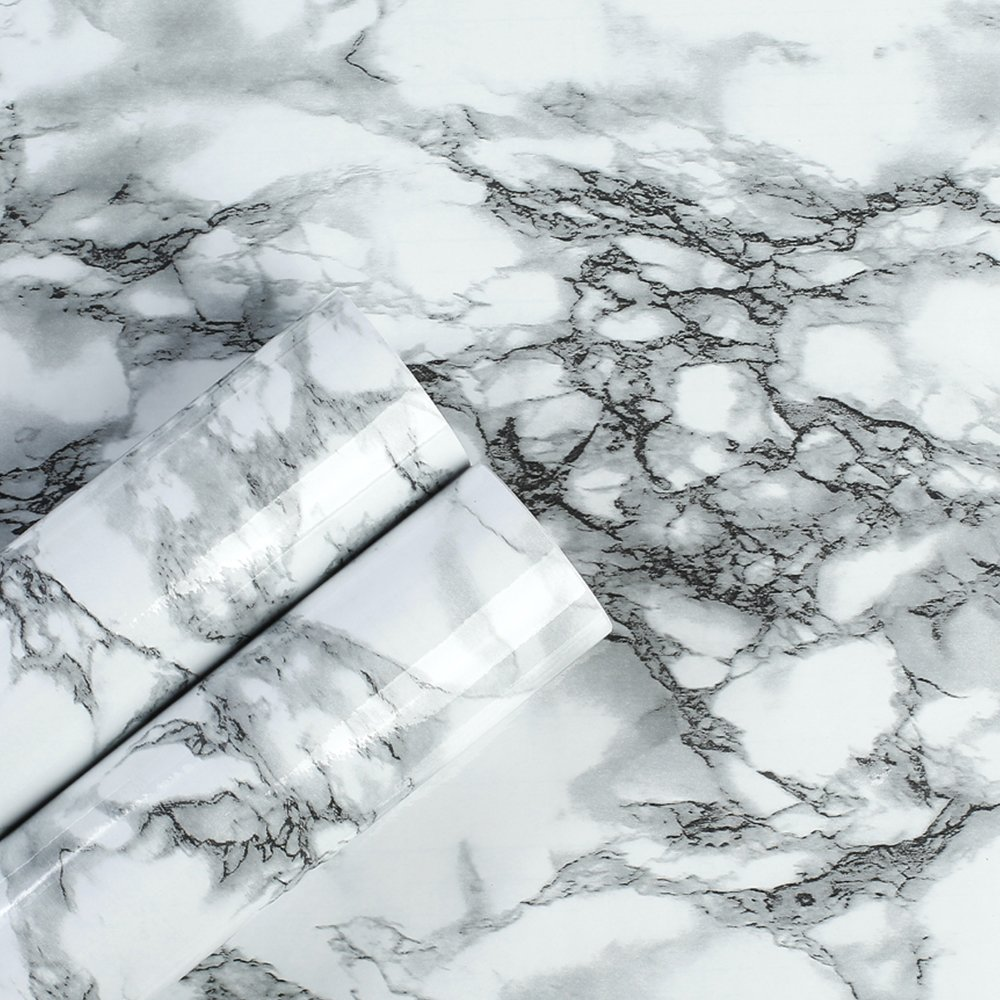 Amazon Com Yjz White Black Veined Marble Wallpaper Vinyl