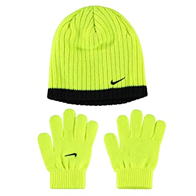 Nike Juniors Ribbed Beanie and Glove Fits Six to Thirteen Years of Age  Volt Black  Amazon.co.uk  Clothing 4135037f65e