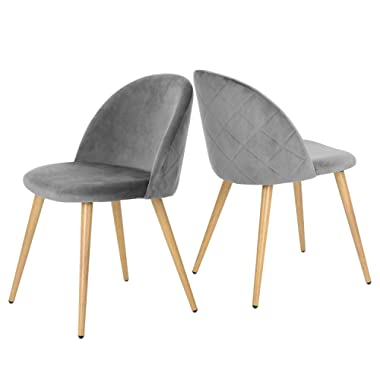 GreenForest Living Room Leisure Chair. Wood Legs Velvet Fabric Cushion Seat Mental Wood Legs Rack Support Low-Back Soft Back for Living Room Chairs, Set of 2, Gray