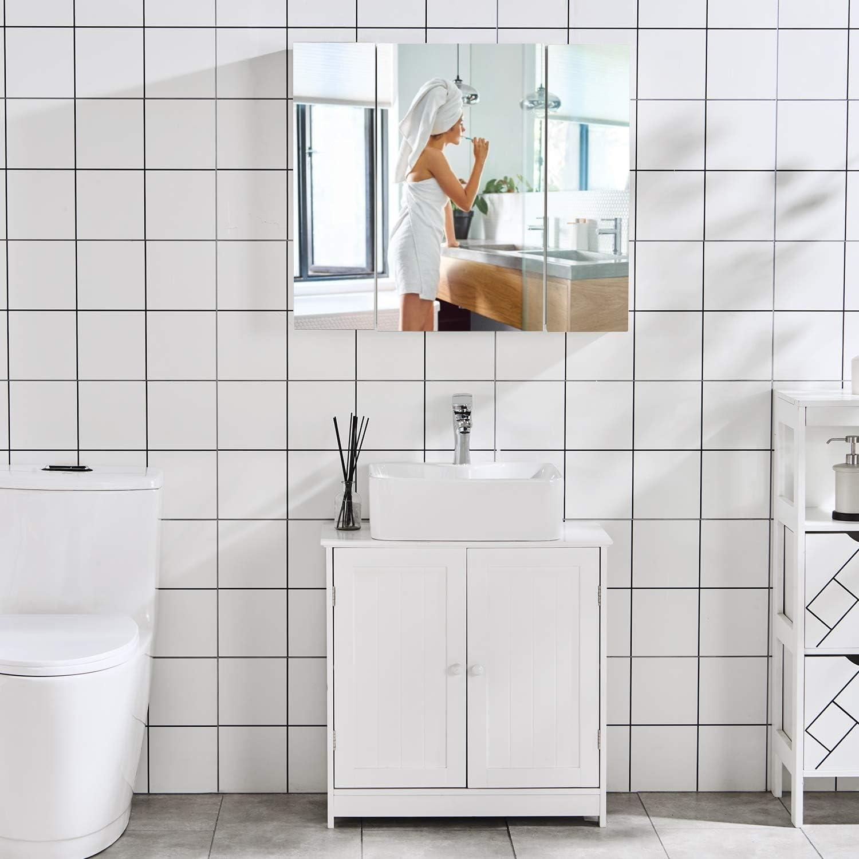 DICTAC Badkommode Badschrank Badezimmer Kommode Schzimmerschrank  BadregalWeiß Hochglanzschrank (Waschbeckenunterschrank)