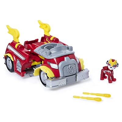 Paw Patrol, Mighty Pups Super Paws Marshall's Powered Up Fire Truck Transforming Vehicle: Toys & Games