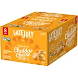 LATE JULY Organic Mini White Cheddar Cheese Sandwich Crackers, 8 Count Box of 1.125 Ounce Pouches (Pack of 4)
