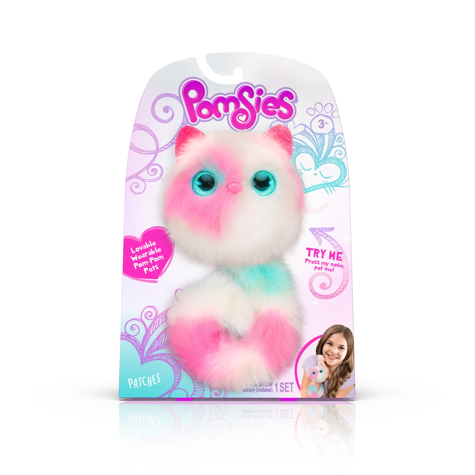 Pomsies Patches Plush Interactive Toys, White/Pink/Mint by Pomsies (Image #1)