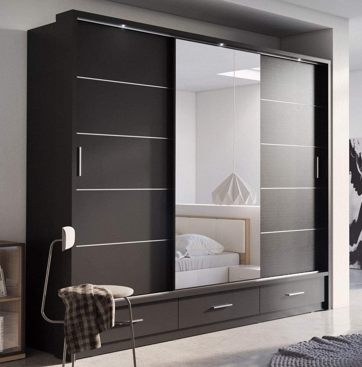 Brand New Modern Bedroom Mirror Sliding Door Wardrobe Arti 1 In Matt Black 250cm Sold By Arthauss Amazon Co Uk Kitchen Home
