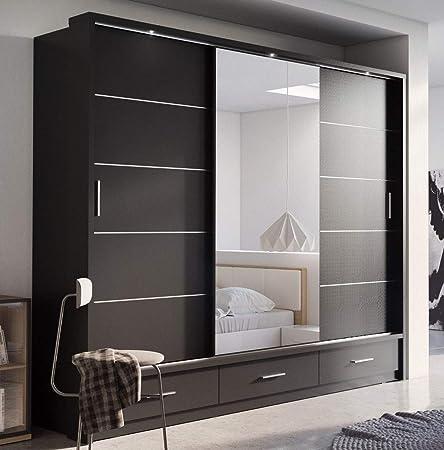 Arthauss Marca nilight Dormitorio Espejo Puerta corredera Armario Arti 1 en Mate Negro 250 cm se Vende: Amazon.es: Hogar