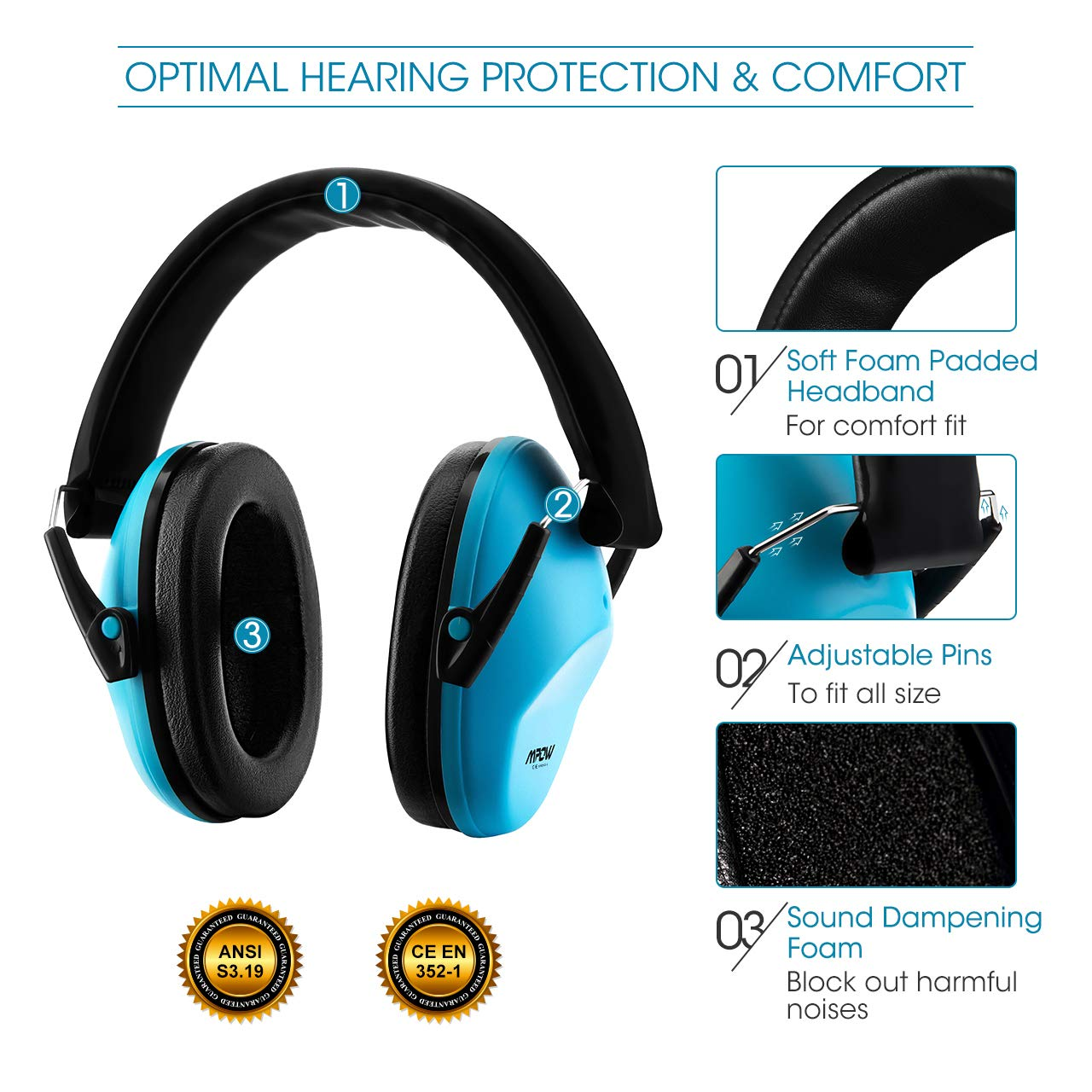 Baby Flight-Royal Blue Foldable Child Hearing Protection for Concert Toddlers Autism Firework SNR 29dB Noise Reduction Ear Protectors for Children Mpow 068 Kids Ear Defenders with Carrying Bag
