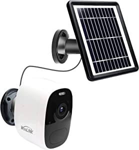 Outdoor Security Camera Wireless WiFi Solar Rechargeable Battery Power IP Surveillance Home Cameras Human Motion Detection,WooLink 1080P, Night Vision, 2-Way Audio, IP66 Waterproof SCC18