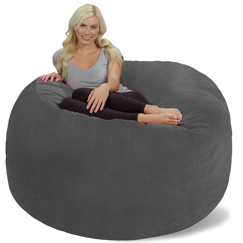 Awe Inspiring Chill Sack Bean Bag Chair Giant 6 Memory Foam Furniture Bean Bag Big Sofa With Soft Micro Fiber Cover Grey Pebble Camellatalisay Diy Chair Ideas Camellatalisaycom