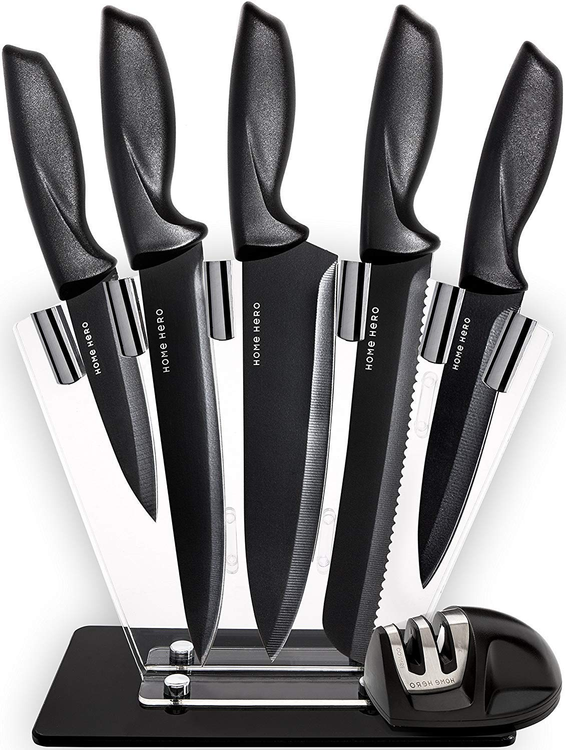 Chef Knife Set Knives Kitchen Set - Stainless Steel Kitchen Knives Set Kitchen Knife Set with Stand - Plus Professional Knife Sharpener - 7 Piece Stainless Steel Cutlery Knives Set by Home Hero by Home Hero