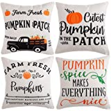 WLNUI Fall Decor Pillow Covers 18x18 Inch Set of 4 Old Vintage Pumpkin Truck Autumn Theme Decorative Throw Pillow Covers Deco