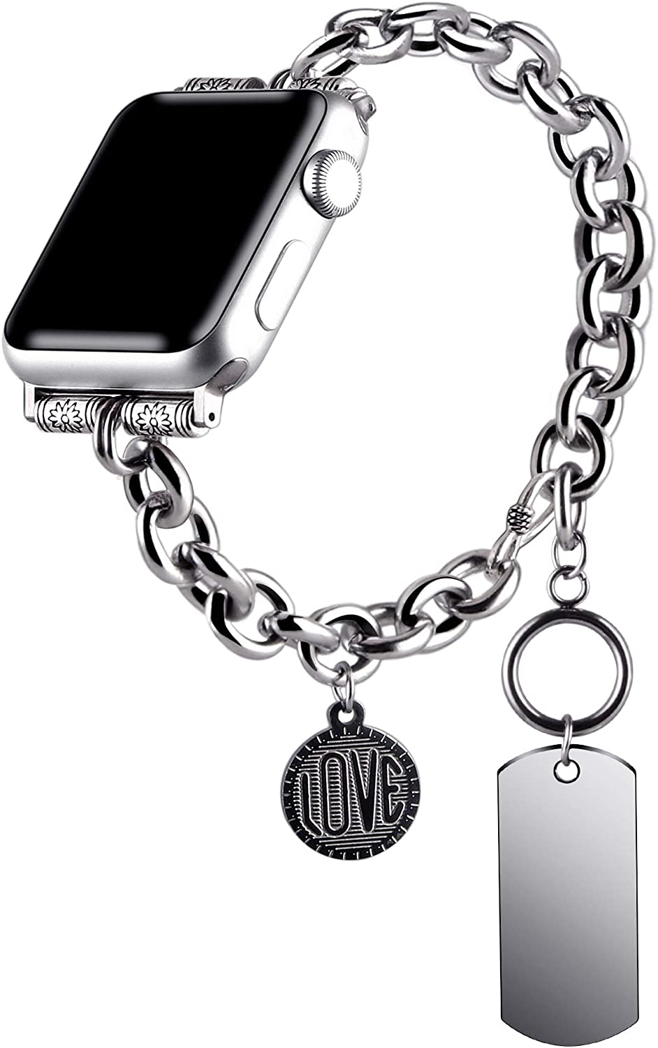VIQIV Boho Hippie Bracelets Compatible with Apple Watch 38mm 40mm 42mm 44mm iwatch SE Series 6 5 4 3 2 1 for Women Mens, Stainless Steel Jewelry Dressy Metallic Charm Wristband Strap Accessories