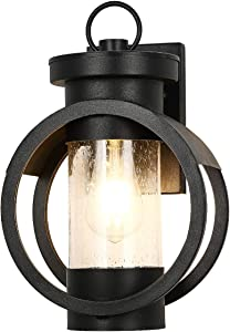 Industrial Outdoor Wall Lantern Modern Exterior Wall Mounted Light Fixtures Outdoor Wall Lamp Waterproof Metal House with Seed Glass for Porch Lighting Matte Black