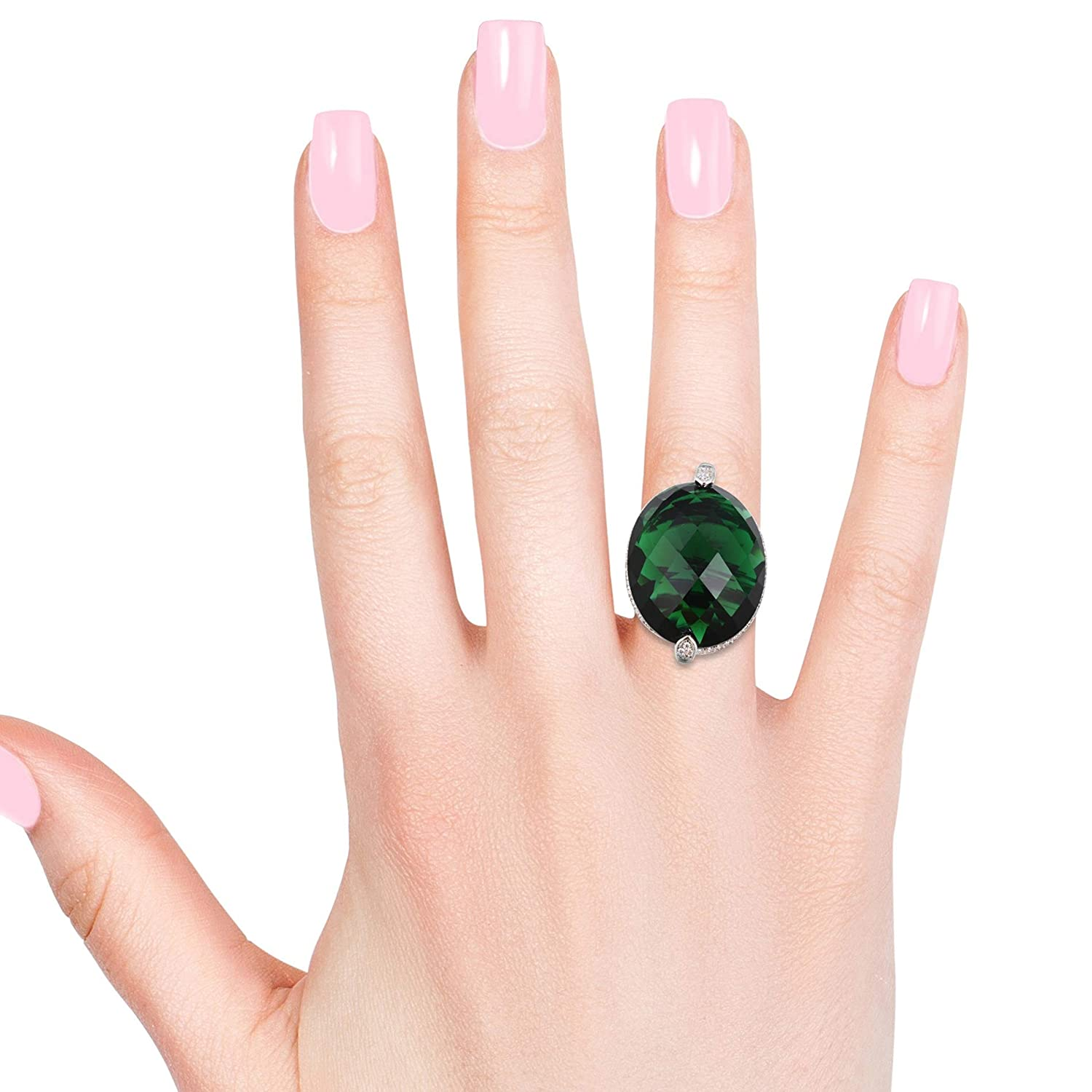 Shop LC Delivering Joy Statement Ring Green Glass White Cubic Zirconia CZ Jewelry for Women Size 8