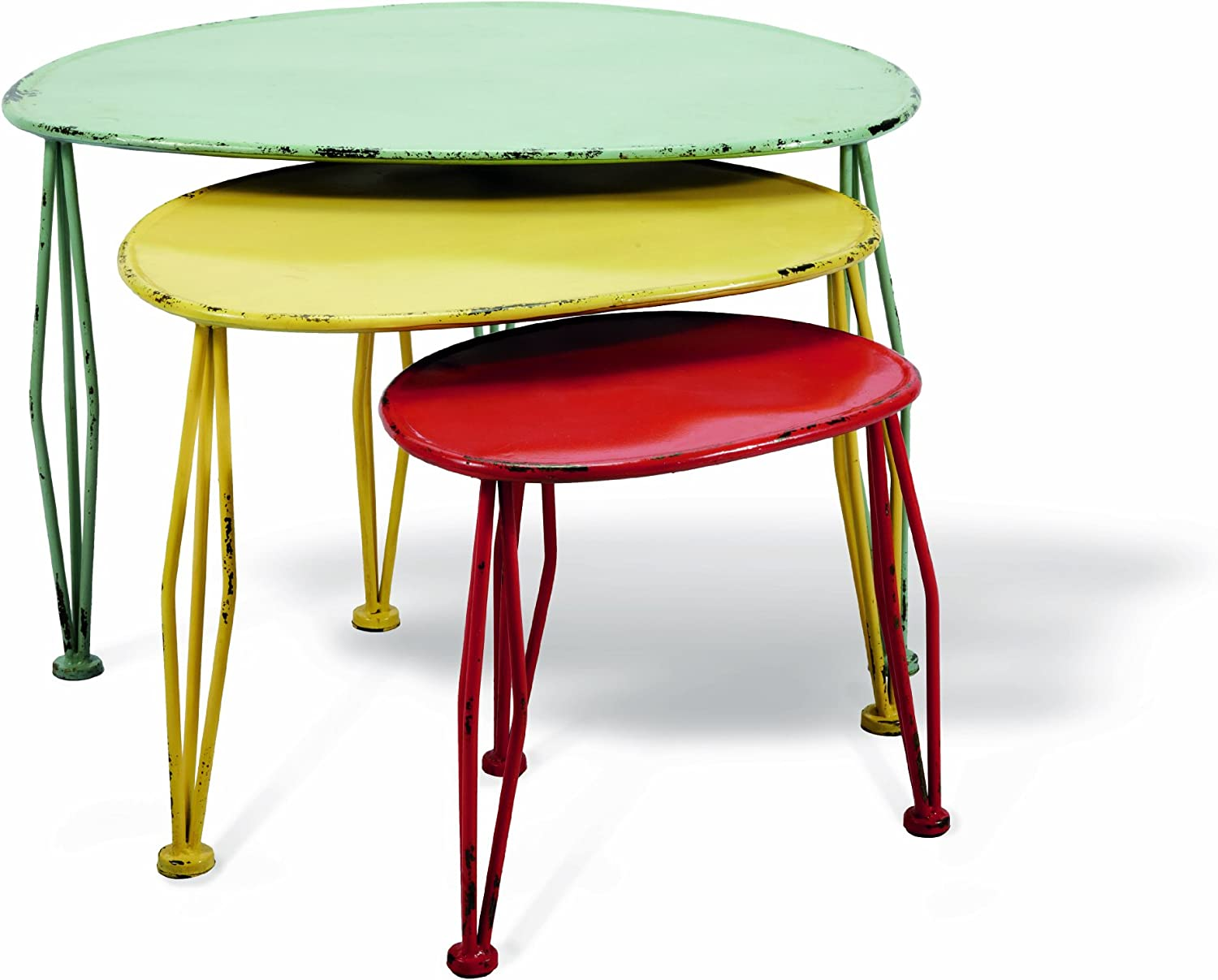Foreside Oblong Painted Nesting Tables, Set of 3