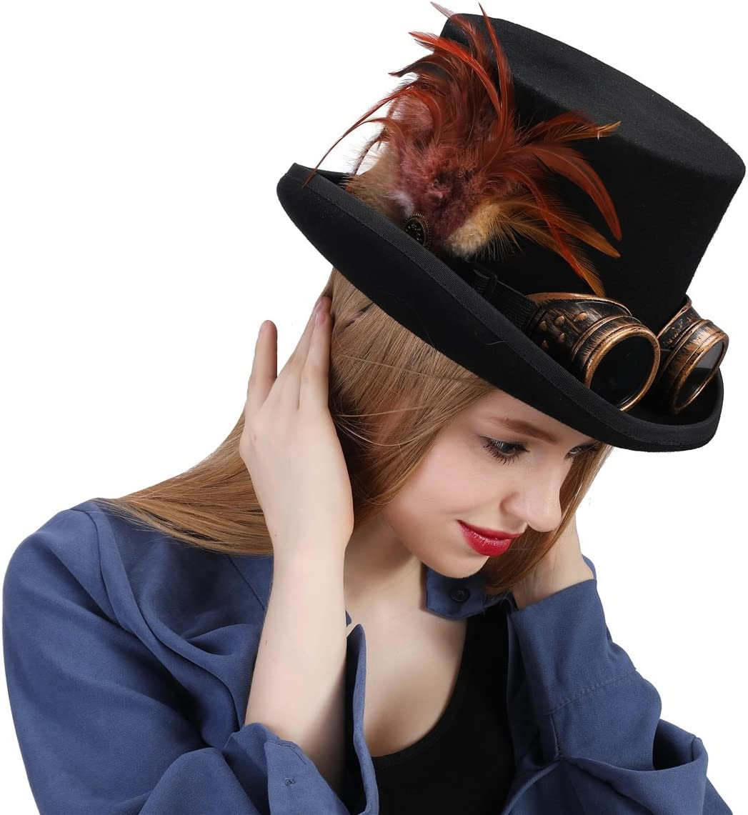 L.Z.H Cap Womens Top Hats Steampunk Hat for Women with Feather Hat Color : Black, Size : 55cm