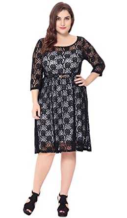 96872985e5e COMVIP Women 3 4 Sleeve Lace Floral Hollow Out Pullover Party Dress Black  3XL