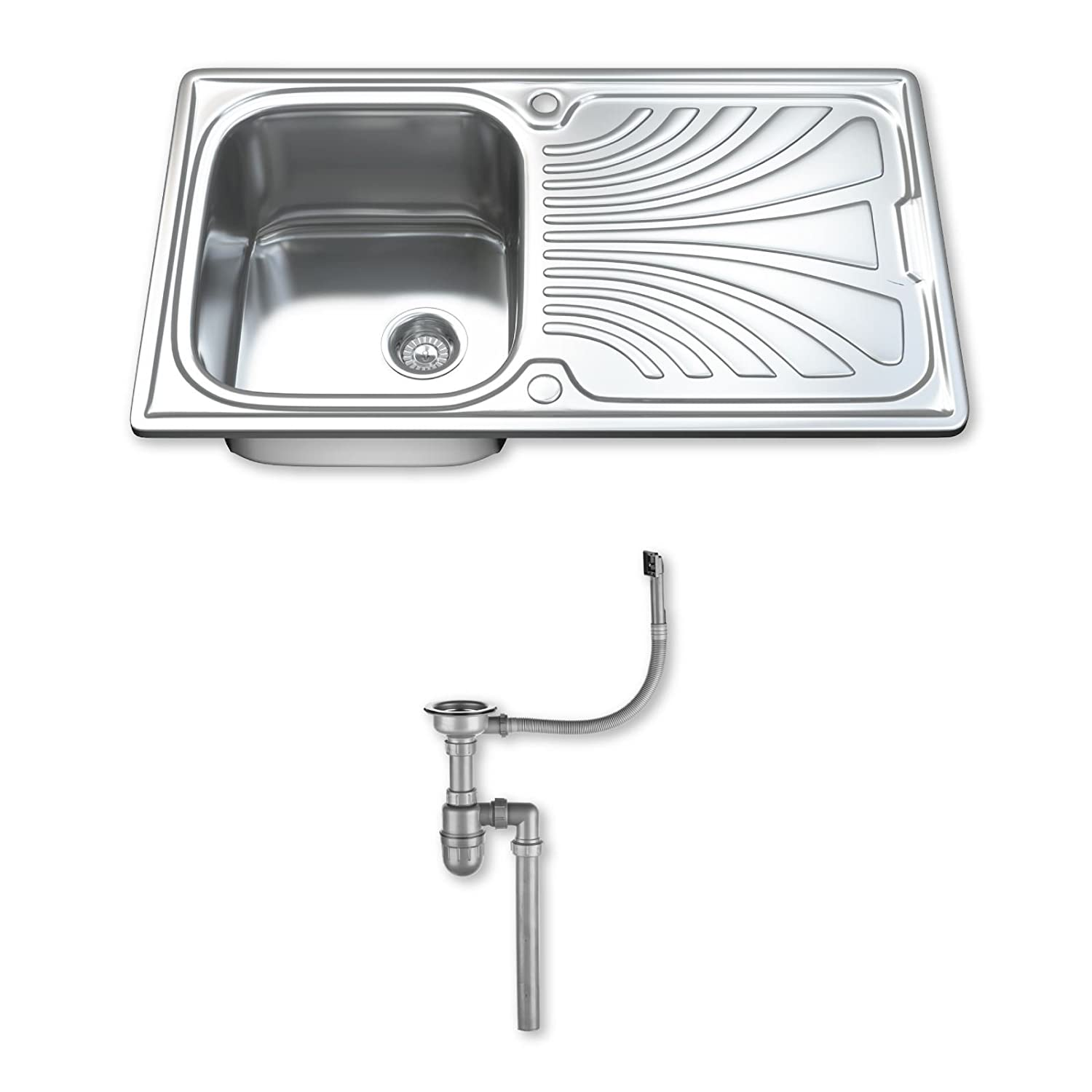 Dihl 1.0 Single Bowl Stainless Steel Kitchen Sink with Drainer ...