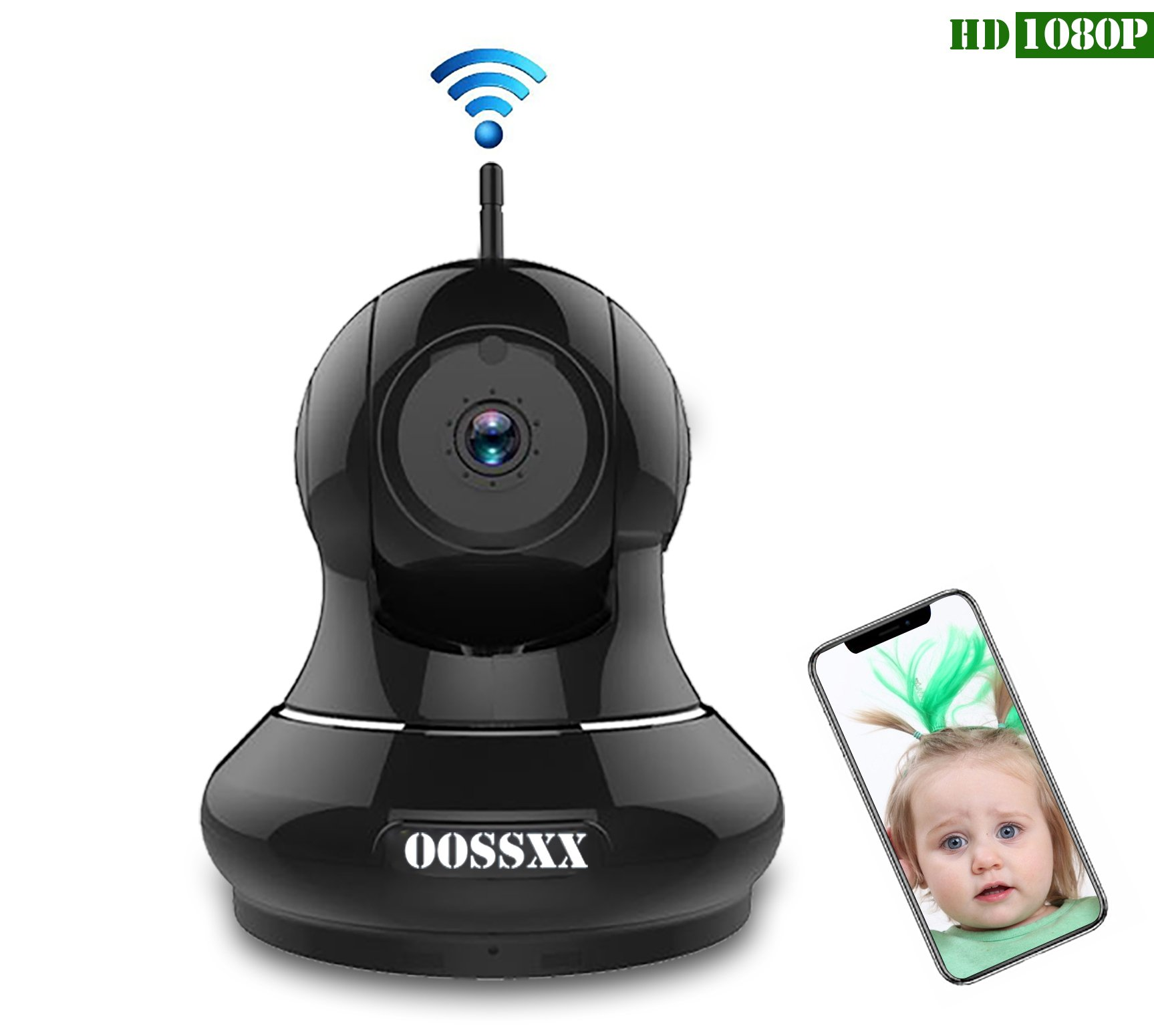1080P Home/Business Wireless IP Camera, OOSSXX HD Indoor Wireless Security Camera with Motion Detection, Two Way Audio, Pan/Tilt, Night Vision, Multi camera preview,for Baby Monitor, Nanny Cam,Pet Cam