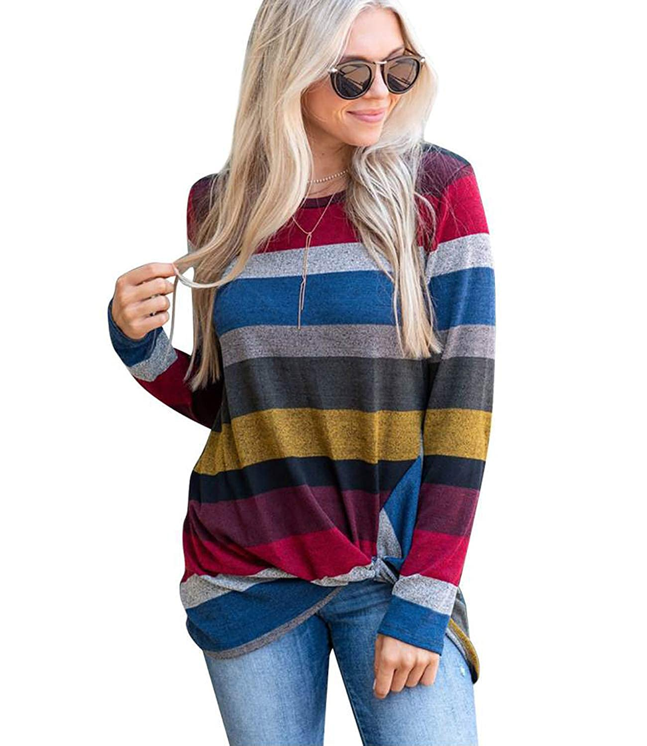 Red MYIFU Women's Casual Long Sleeves Knot Side Twist Knit Striped Blouse Top