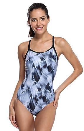 ac6decdb2f0 ATTRACO Athletic One Piece Swimsuit Women Training Sport Pro Swimwear Gray S
